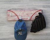Baseball Softball Hat Rack Hanger 5 Hooks Kids Room by sportyracks. $32.00, via Etsy.