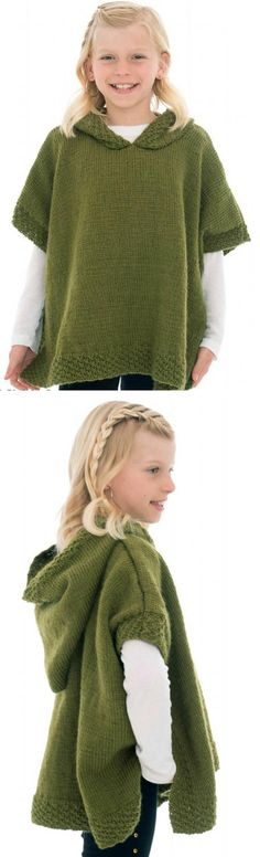 Free Knitting Pattern for Hooded Poncho - Child sized poncho in stockinette with double seed stitch trim. Worsted weight yarn. 8, 10, 12, 14 years. Designed by Gitta Schrade who provides some video tutorials as well as the written pattern