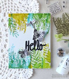 RejoicingCrafts: Watercolour hello card with the Flora & Fauna Wildflower Seeds Stamp Set. #handmade #card #stamping #watercolor #hello
