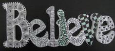 """Zentangle """"BELIEVE"""" Wooden Word by TangleMania for $13.95"""