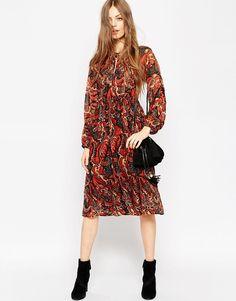 Image 4 ofASOS Long Sleeve Midi Dress In Folk Print With Embellishment