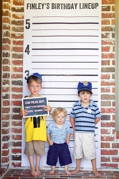 Lego Police Birthday Party- police lineup photo booth