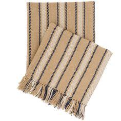 """Bring this striped indoor/outdoor throw on the road for a layer of lightweight warmth, anytime. Featuring a classic color combination of navy and ivory, this throw is made from eco-friendly, durable PET, yet is as soft as wool.   • 100% PET.  • 50"""" x 70"""" plus knotted fringe."""