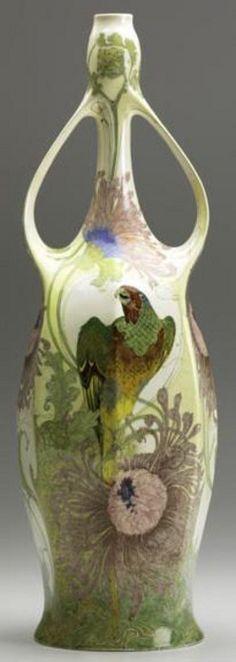 pottery & porcelain, Holland, An H.G.A. Huyvenaar, Rozenburg, large eggshell porcelain two-handled vase [with parrot and floral decoration],...