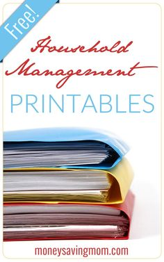 Tons of Household Management Printables! Print these free customizable household management organizational pages to fit a half-sized planner or notebook. This pack includes the following customizable planners: a Daily Docket, a Daily Cleaning List, a Monthly/Semi-Annual Cleaning List, a One-Week Menu Planner, and a Seven-Day Menu Planner.