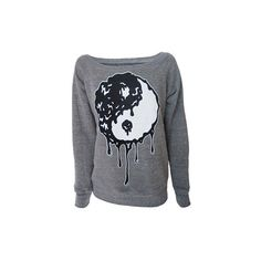 Zombie Ying Yang Womens Grey Sweatshirt ($48) ❤ Liked On Polyvore