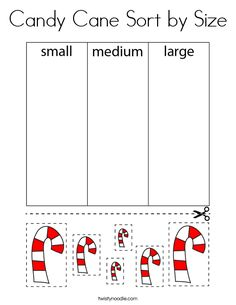 Candy Cane Sort by Size Coloring Page - Twisty Noodle Preschool Themes, Kindergarten Math, Classroom Activities, Toddler Activities, Learning Activities, Preschool Activities, Preschool Christmas, Christmas Activities, Kids Christmas