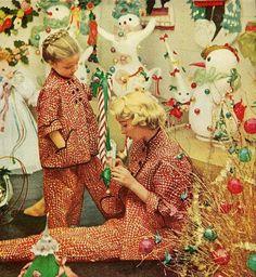 Matching Christmas pajamas    From Good Housekeeping, December 1951,,my mom,dad,brother and i all had matching pjs till mine was almost to my knees...in the 70's