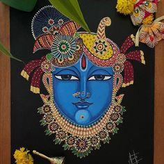 Modern Indian Art, Indian Folk Art, Pichwai Paintings, Indian Art Paintings, Durga Painting, Fabric Painting, Painting Art, Mehndi Art Designs, Perspective Art