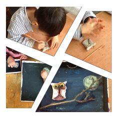"""Trabajo""""La noche"""". Arcillas, plastilina, pintura... Alumnos de 5 años. Colegio Nuestra Sra. Santa María. Madrid."""