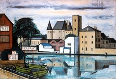 Bernard Buffet Nemours, le chateau, les bords du Loing - 1971 oil on canvas - 89 x 130 cm