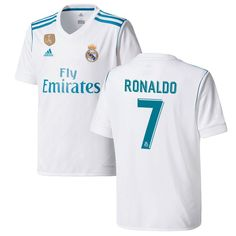 Ronaldo Real Madrid adidas Youth 2017/18 Home Replica Patch Jersey - White