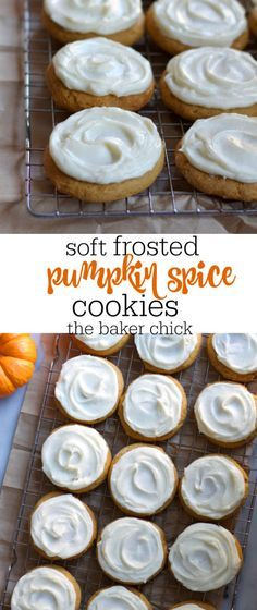 Soft Frosted Pumpkin Spice Cookies - all recipes Pumpkin Spice Cookie Recipe, Pumpkin Cookies, Pumpkin Recipes, Fall Recipes, Holiday Recipes, Cookie Recipes, Dessert Recipes, Keto Recipes, Holiday Pies