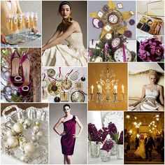 Lovely plum, gold & cream wedding color scheme.