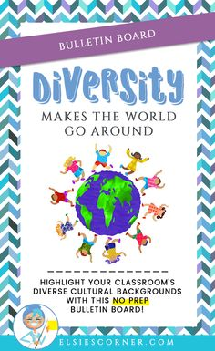"Introduce your kiddos and highlight their diverse cultural backgrounds with our ""Diversity Makes the World go Round"" no prep bulletin board packet.   bulletin board 