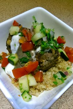 A beautiful healthy meal--Moroccan Meatballs with tahini sauce, minted yogurt, roasted veggie quinoa, & a cucumber tomato salad