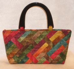 fiber art purse - woven strips