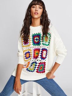 Contrast Crochet Hollow Knit Sweater -SheIn(Sheinside) The Effective Pictures We Offer You About Knitting beanie A quality picture can tell you many things. Pull Crochet, Mode Crochet, Crochet Jumper, Crochet Lace, Crochet Stitches, Knitting Blogs, Knitting Patterns, Crochet Patterns, Crochet Clothes