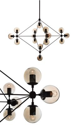 Artfully constructed from carbon steel and glass, this pendant lamp screams industrial-modern style with a retro flair in any indoor setting. Its geometric,  multidimensional form elegantly contrasts with its circular bulbs that cast illuminating brilliance over your dining table, kitchen counter, or bedroom.