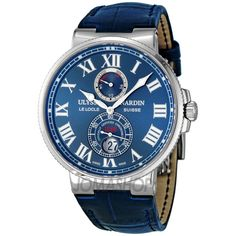 Ulysse Nardin Maxi Marine Chronometer Blue Leather Mens Watch 263-67/43