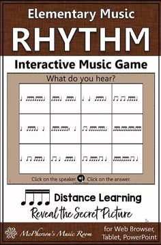 FUN interactive sixteenth notes elementary music game. Your students will LOVE revealing the secret picture with each correct answer. Easy addition to first grade lesson plans and it works well on all platforms in class or for distance learning.