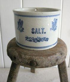 Vintage Salt Crock, Stoneware Crock, Salt Glazed Blue and White Salt Keeper, Salt Box