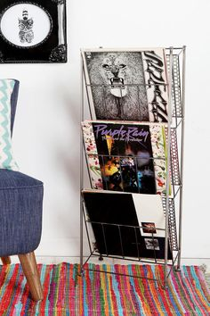 Corner Store Record Rack -- would be a cute magazine rack