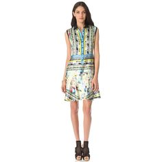 Yigal Azrouel Aquamarine Ikat Dress ($950) ❤ liked on Polyvore