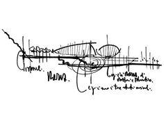 Schizzo di Renzo Piano,per l'Auditorium di Roma