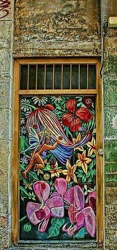 Painted Artwork door in Barcelona, Spain. - by Jules Lavirotte