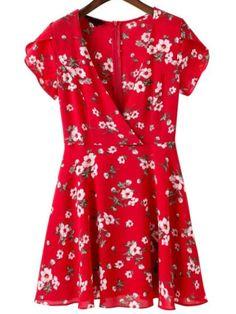Robe florale à col ras du cou