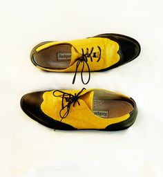 Yellow and Black Leather Oxfords
