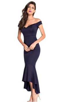 Navy Beautiful Party Off-Shoulder Mermaid Evening Dress