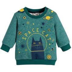 Paul Smith Junior Baby Boys Green Space Cat Sweatshirt at Childrensalon.com