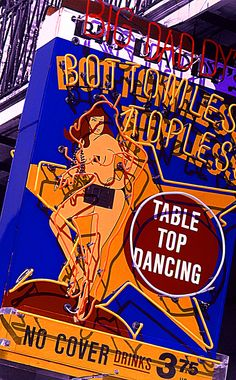 """Big Daddy's Bottomless Topless - Bourbon St, New Orleans, LA - Hand-Colored Original 17""""x23"""" copyright Joanne Domka"""