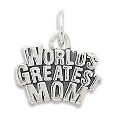 Worlds Greatest Mom Charm: This brand new charm is a solid genuine stamped .925 sterling silver charm that says it all! This Worlds Greatest Mom charm is the perfect size for a charm bracelet orlight chainnecklace at 15.5 millimeters by 18 millimeters....