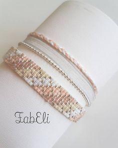 Bracelet multirang miyuki Bracelet Crafts, Seed Bead Bracelets, Seed Bead Jewelry, Jewelry Crafts, Beaded Bracelet Patterns, Bead Loom Patterns, Beading Patterns, Beadwork Designs, Beaded Jewelry Designs