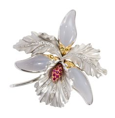 Orchid brooch, ruby, mooonstone & diamond
