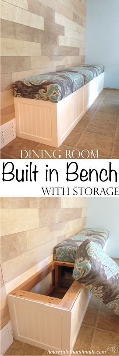 Room Built in Bench with Storage Dining room built in bench with storage from Houseful of Handmade.Dining room built in bench with storage from Houseful of Handmade. Kitchen Table Chairs, Kitchen Benches, Dining Tables, Outdoor Dining, Dining Buffet, Round Tables, Patio Dining, Room Chairs, Coffee Tables