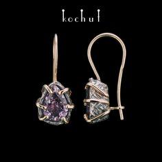 Сережки Аврора іззолотим французьким замком | Срібло, золото, фіолетовий аметист