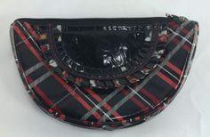Vera Bradley FOFL Red Black Plaid Zipper Patent Leather Purse Wallet