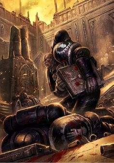 40l - Iron Hands space marines under fire.