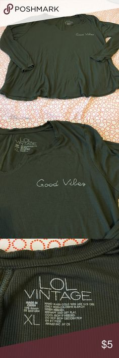 """Good vibes Tee Long sleeved Preloved top by LOL VINTAGE. Great condition! On shorter side! Extra roomy all the way around. Measures- 25"""" pit/pit & 23"""" long. Nonsmoking home LOL Vintage  Tops"""