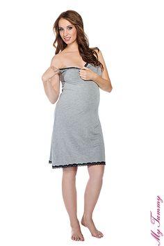 Koszulka ciążowa nocna Cindy szara