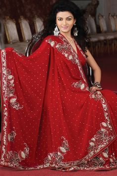 3f419df64ea37 Carnelian Red Faux Georgette Embroidered Party and Festival Saree