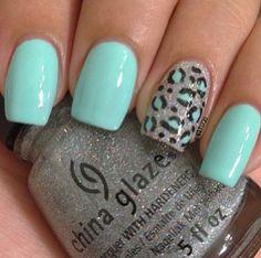 Leopard nail... Mint, silver, black