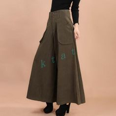 Womens Military High-waisted Wide Leg Harem Pants Cotton Blend Loose Trousers in Clothing, Shoes & Accessories, Women's Clothing, Pants | eBay