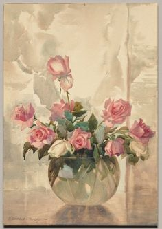 Roses in a Vase (c. 1927), watercolour - H. Dudley Murphy