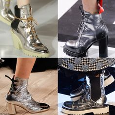 Trendy Boots Color for FW 2016: Silver Metallic Ankle Boots. Maison Margiela, Louis Vuitton, Proenza Schouler, and Dolce and Gabbana Fall Winter 2016.