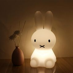 Rabbit Night Light Specification Material : environmental protection polyethylene + electronic component Product Size : Power: Emitting Color : Warm White Input Voltage : USB Rechargeable Package 1 x Led Night Light Rabbit Lamp Cute Night Lights, Led Night Light, Lampe Miffy, Usb, Bunny Lamp, Lampe Decoration, Dimmable Led Lights, Bedroom Lamps, Baby Bedroom